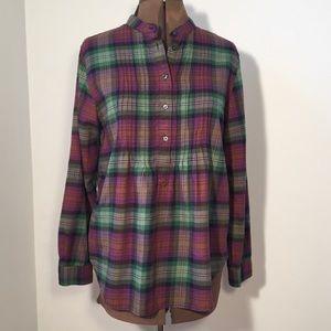 Lands' End Flannel Tunic Plaid Pullover Cotton 10